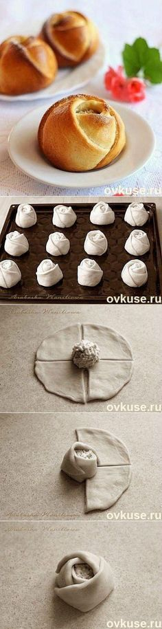 Muffin-Roses with pastry dough. Bread Shaping, Bread And Pastries, Food Decoration, Snacks, Food Humor, Creative Food, Food Art, Food To Make, Dessert Recipes