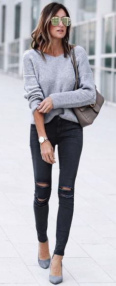 #spring #outfits Grey Knit + Black Ripped Skinny Jeans + Grey Pumps ✂️
