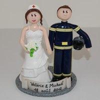 wedding cake topper infirmire et pompier httpwwwflo et - Figurine Gateau Mariage Personnalis