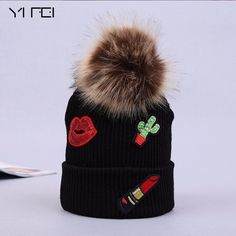 YIFEI Women's Winter Fur Ball Cap Pom Poms Hat Wool Beanie Hat GIRL Lipstick Design Skullies Beanies Outdoor Thick Warm Ski Cap #Affiliate