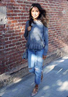 Julie Sariñana de Sincerely Jules con #boyfriendjeans #tendencias #blogger #streetstyle