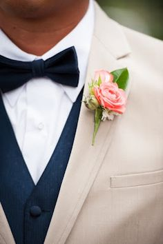 Wedding Flowers from Springwell: Dominique and Javier's Stunning Coral and Navy Wedding NO BOW TIE! Tan Wedding, Wedding Groom, Wedding Suits, Wedding Attire, Wedding Bells, Wedding Colors, Wedding Flowers, Dream Wedding, Tan Tuxedo Wedding
