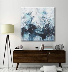 large abstract painting seascape painting white blue black turquoise sensual sea wall art Elena