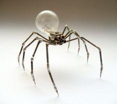 Mechanical Spider Sculpture No 7 Recycled Watch Parts Clockwork Arachnid Figurine Stems Lightbulb Arthropod A Mechanical Mind Halloween. $180.00, via Etsy.