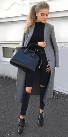 Viktoria J. Hutter + grey overcoat + distressed black jeans + plain black top + contrast of colours + sleek chic feel + black buckled loafers + large Givenchy bag. Coat: Zara, Bag: Givenchy.