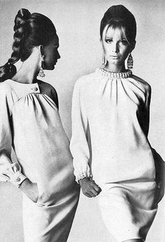 Brigitte Bauer and Sue Murray in soft fluid silk dresses by Geoffrey Beene, photographed by legendary Irving Penn for Vogue, 1966.