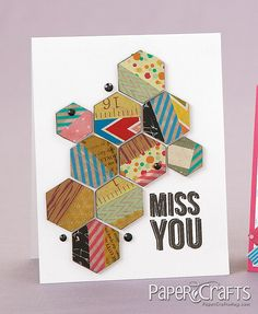 scrapbook paper scraps, washi tape, scraps of painted papers to make a 'card quilt! Cool Cards, Diy Cards, Hexagon Cards, Paper Crafts Magazine, Creating Keepsakes, Paper Scraps, Cards For Friends, Card Making Inspiration, Pretty Cards