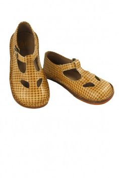 Brown Houndstooth T-Strap Shoes by PePe | Little Skye Children's Boutique @littleskyekids