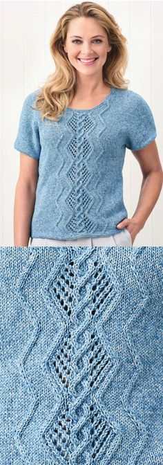 Free Knitting Pattern for a Denim Cable and Lace T-shirt