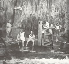 """This is a picture from """"5,000 Years on the Loxahatchee"""" by J. D. Snyder. The caption reads: """"When the Lainharts headed for the weekend at there Loxahatchee River retreat, their children brought lots of friends with them. Posing in 1941 at the Lainhart Dam were from left, Mickey Chillingworth, Dede Hancock, Charlotte Fowler, Martha Lainhart McKenna, unidentified girl, Dale Simon and another unidentified girl."""""""