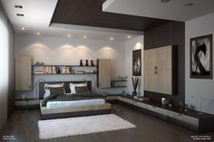 interior-astonishing-bedroom-shaped-ceiling-design-with-recessed-ceiling-downligh-decorate-plus-brown-combined-white-ceiling-also-floating-wooden-shelf-on-the-white-wall-as-well-as-led-can-lights-also-1138x758.jpg (1138×758)