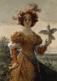 Edmond-Louis Dupain - Dame au faucon.