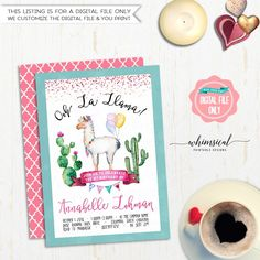 """Birthday Party Invitation """"Ooh La Llama"""" (Printable File Only) Watercolor Llama Cactus Cacti Fun Birthday Invite Banner Bunting Teal Pink by WhimsicalStationery on Etsy https://www.etsy.com/listing/460741350/birthday-party-invitation-ooh-la-llama"""