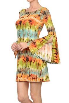 Boho Chic psychedelic Tunic Dress | Very Artsy psychedelic Boho Retro Chic Dress, Batkik Dye with colorful eye-catching pattern, Flatter | Primary View | Sassy Posh