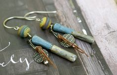 Artisan Blue Earrings - Outwest Lampwork - Scorched Earth Ceramics - Earthy Chic Jewelry by YaY Jewelry