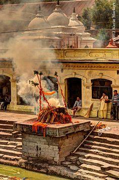 Cremation at Pashupatinath Crematory, Kathmandu, Nepal.