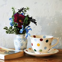 Emma Bridgewater Large Polka Dot Large Tea Cup & Saucer 2--I need to go on a shopping trip to England.  Ha.