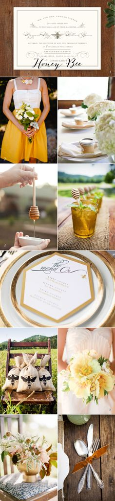 Honey Bee wedding inspiration @Kristen Delgado   reminds me of you and Bee!!!  LOVE the menu!!!  S.C.