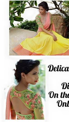 Pretty yellow and green half saree. Indian fashion.