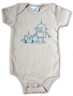 Robot Onesie by MamaRobot: Made of 100% organic cotton. #Robot #Onesie #Babies #Mama_Robot