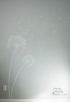 Great tutorial on how to paint dandelions on a wall... may have to try this in my bedroom!