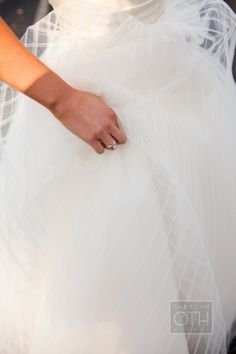Patterned Sheer Overlay on Bridal Gown