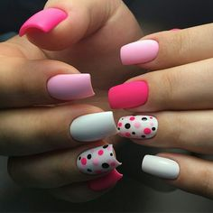 Marvelous Pink Dotted Nail Art Designs for Girls 2019 Metallic Nail Polish, Matte Nails, Pink Nails, Gel Nails, Dot Nail Art, Trendy Nail Art, Manicure E Pedicure, Manicure Ideas, Super Nails