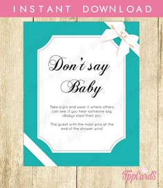 Don't Say Baby Game Baby Shower Games Printable Baby by TppCardS