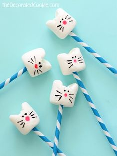 these simple kitty cat marshmallows are so cute...