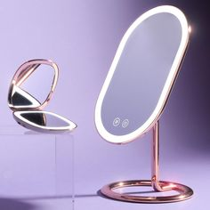 Meet your new beauty power-duo: Vera Vanity and Mila Compact. With natural daylight LED lights at home or on-the-go, there's no amount of BBL trickery that could mess with your look. Plus, let's be honest it doesn't get more glam than this, with our two premium (and sleekest) vanity and compact mirrors. BBL beware, there's a new hero in town. Mirror With Led Lights, Lighted Wall Mirror, White Mirror, Mirror Set, Backlit Bathroom Mirror, Led Light Design, Old Makeup, Evening Makeup, Dimmable Led Lights