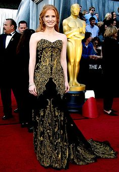Jessica Chastain's Chic not so little not so black but gorgeous dress!