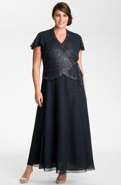 Free shipping and returns on J Kara Beaded Mock Two-Piece Wrap Dress (Plus Size) at Nordstrom.com. Silvery beads shimmer against a flutter-sleeve wrap top with a flattering V-neckline. Attached skirt is gently flared for a fluid finish.