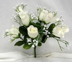 84-OFF-WHITE-Silk-Roses-Buds-Wedding-Bouquet-Flowers