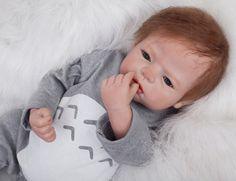 100.26$  Buy here - http://alizc5.worldwells.pw/go.php?t=32763311283 - 55cm Silicone Reborn Baby Dolls Simulation Dolls With Blue Eyes Newborn Bebe Doll For Kid Girls Brinquedos