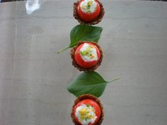 Cherry tomatoes filled with cheesy lime yogurt in a meaty muffin. . .