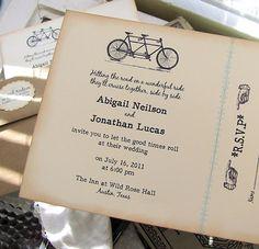Vintage Wedding Invitation  Tandem Bicycle by SunshineandRavioli, $4.50