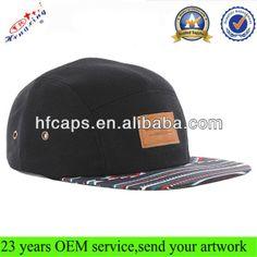 100 Cotton Wholesale Leather Patch 5 Panel Hat/Custom 5 Panel Hat/Leather Strap 5 Panel Hat $2.5~$6.86