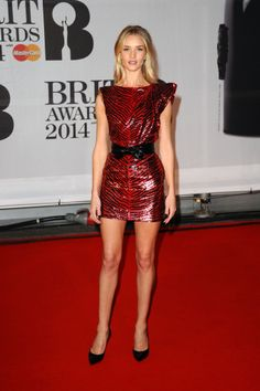 Rosie Huntington-Whiteley in Saint Laurent at the Brit Awards.