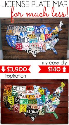 DIY License Plate Map Of USA License Plates Craft And License - Us map made out of license plates
