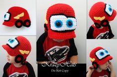 Crochet Lightning McQueen hat by KrazyHats1 on Etsy, $30.00