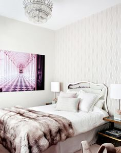 Master bedroom with #faux fur for a #glam style home and bright and light #colors