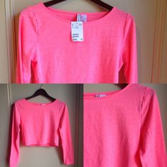 """H&M Neon Long Sleeve Crop Top New with yah! Cool t-shirt material bright pink neon crop top. Great to wear with high rise shorts or skirts to accentuate your waistline. Bust 34"""" Sleeve 23"""" Length 16"""" H&M Tops Crop Tops"""