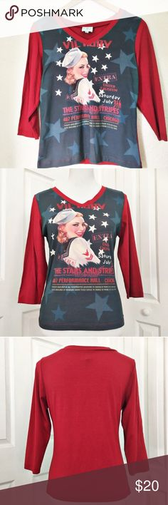 """Sailor Girl Top Adorable top by 6 Degree.  Features v- neck line and 3/4 sleeves.  Very soft material being made of 90% rayon and 10% spandex. Top is in very good condition.  Measurements laid flat: bust 18 1/2"""" and length from top of shoulder to hem 23"""". 6 Degree Tops Tees - Short Sleeve"""