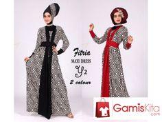 Gamis Fitria, gamis dengan material kombinasi spandek rayon super dan spandek korea kualitas terbaik yang lembut tebal dan dingin ketika dikenakan, model kimono dengan kombinasi motif hexagonal dan polosan.