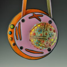 Glass and Enameled Copper Pendant - Kathryn Guler