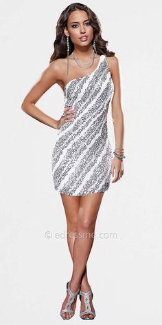 af6d2516657 Scala Ivory Silver One Shoulder Homecoming Dresses - ShopStyle Cocktail