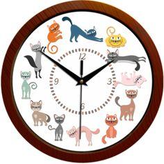Ceas de perete cu pisici desenate in diferite culori si pozitii. Clock, Retro, Wall, Home Decor, Watch, Decoration Home, Room Decor, Clocks, Walls