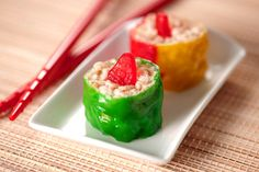 Enjoy the sweet taste of our adorable Candy Sushi Rolls. These Candy Sushi Rolls are a version of RICE KRISPIES TREATS® combined with fruit snacks.