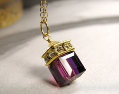 Amethyst Crystal Necklace Gold Filled Purple Custom by fineheart, $42.00
