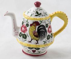 Vintage Ucagco PY Early Provincial Rooster & Roses Wall Teapot 5""